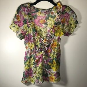 Guess Silk Floral Blouse Top XS